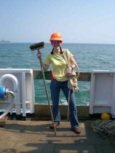 TAS Jill Carpenter working hard aboard NOAA ship DELAWARE II.