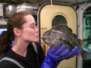 TAS Jill Carpenter with a lumpfish caught with a mid-water trawl