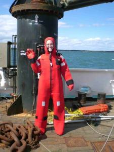 Jill Carpenter in her survival suit