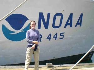 TAS Jill Carpenter in front of the NOAA ship DELAWARE II.