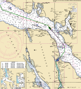 Chart showing approach to Wrangell Narrows
