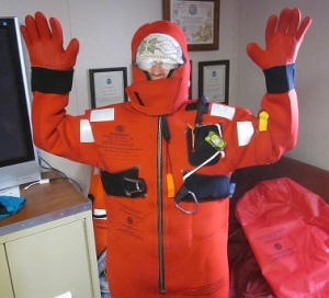 Here I am, all zipped up in my immersion suit.