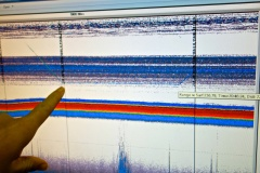 Here you can see the DIDSON going down to record the scattering layer (the very thin line near the finger).