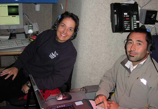 Erica Burton, on the left, operates VARS (Video Annotation and Reference System), and works for the Monterey Bay National Marine Sanctuary. Lee Murai, on the right, is the expedition's GIS (Geographical Information System) analyst, and comes from Moss Landing Marine Laboratories.