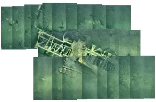 This image, created with low-resolution copies of the image files, shows a Curtiss F9C-2 Sparrowhawk (plane #4 in the GIS map on the Day 1 log).  High-resolution tiles will be fused into the final photo-mosaic.  The nose of the plane is in the lower left.