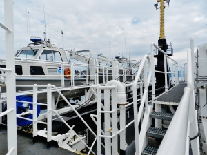 Launch vessels secured in starboard davits