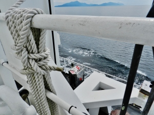 A tie-down the port deck