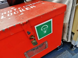 Pyrotechnic locker for emergency flares, on the flying deck