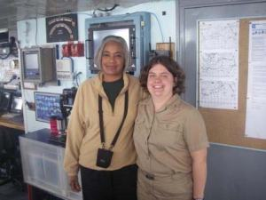 NOAA Teacher at Sea, Jacquelyn Hams, and ENS Olivia Hauser on board NOAA ship RAINIER