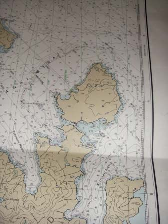 Portion of bathymetric chart for Nagai Island and Unga Island with course plotted to Northeast Bight