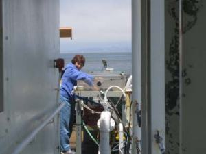NOAA Teacher at Sea Elsa Stuber prepares the seawater phytoplankton incubation trays.