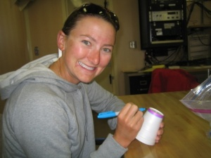 Charlotte Hill of the US Naval Academy prepares a cup to be sent down to -4500 meters with the CTD.