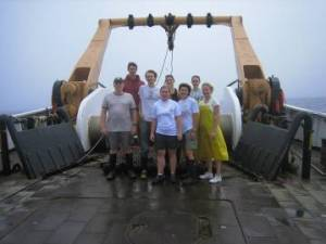 "The ""Day Crew""From Left to Right: Larry Brady (Watch Chief), Nikolai Klibansky, Jakub Kircun, Stacy Rowe (Chief Scientist), Sarah Pregracke, Claude Larson, Susie Hill, and Melissa Ellwanger"