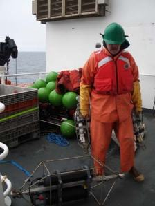 Scientist Bill Floering with some of the new sensors deployed today from the OSCAR DYSON.