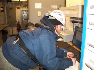Senior Survey Technician Colleen processing CTD data
