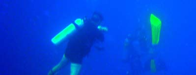 NOAA diver Roger Mays conducts a safety stop to decompress before surfacing.