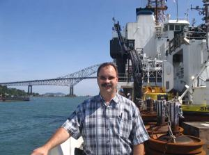 Mr. Hoyt on the RONALD H. BROWN leaving Panama passing under The Bridge of the Americas