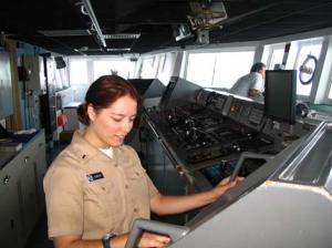 Ltjg. Jackie Almeida On the bridge of the RONALD H. BROWN