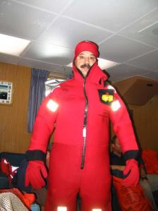 "Mr. Hoyt ""looking good"" in his survival suit.  Hey kids, wouldn't your teacher look good in this suit?"