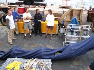 This is the drogue chute that is deployed in the water beneath the drifter to stabilize its deployment with the ocean currents.