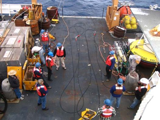 With over 4,400 m (13,000 ft) of cable it takes a full crew to stage the cable.