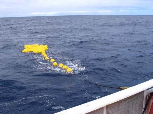 Remember the glass balls from Stratus 7?  Here are the glass balls from Stratus 6.  It took them over one hour to reach the surface after the acoustic release was activated.  They are not in the nice neat line as we had in deployment.