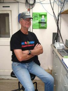 Dan Wolfe, senior scientist at NOAA, at his workstation on board the research vessel the RONALD H. BROWN.