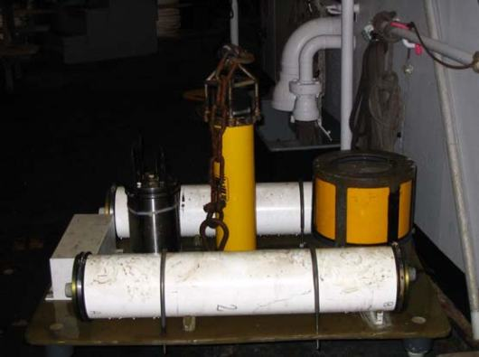 The BPR immediately after recovery, without its anchor that remains on the bottom of the ocean.