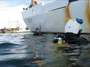Dive Master and Executive Officer Kurt Zegowitz (left) and Commanding Officer Steve Wagner (right) inspect the hull of the ALBATROSS IV prior to setting sail.