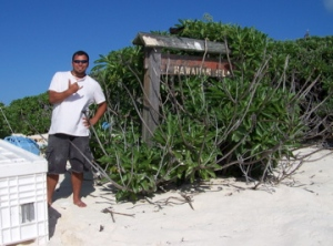 At Lisianski Island, NOAA Teacher at Sea Chris Monsour  gives the camera his best Hawaiian hello.