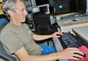 NOAA physical scientist Kurt Brown joins Rainier in surveying the sea floor of Chatham Strait