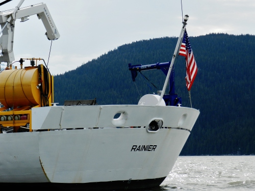 NOAA Ship Rainier ready for the returning skiff