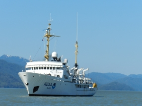 NOAA Ship Rainier, S-221, underway in Behm Canal