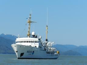 NOAA Ship Rainier, S-221, underway in Behm Canal