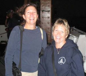 Teachers Amy Pearson and Kim Pratt during their first evening on DELAWARE II