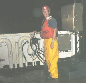 After dark, Amy Pearson operates the A-frame, which is used to lower the CTD and Bongo Nets.