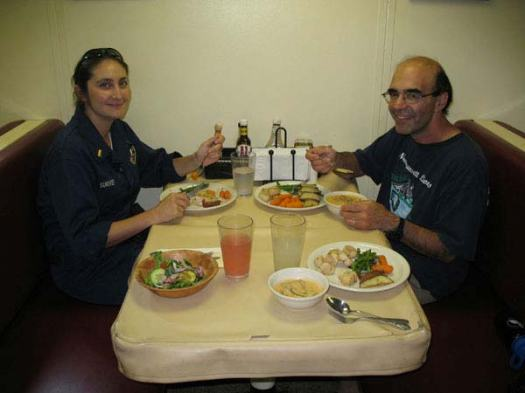 Ensign Claire Surrey and Scientist Jerry Prezioso enjoying a delicious lunch. Bravo to the chefs!