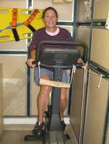 Amy takes a spin on the stationary bike