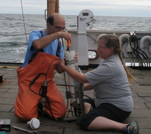 Jerry Prezioso and Betsy Broughton changing CTD batteries