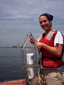 Candice Autry holds the CTD instrument. We collected information from three locations; once in the morning and then again in the afternoon.