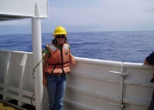 TAS Jenny Holen taking a break from the rigorous microscopic search for billfish larva and eggs aboard the SETTE 45 miles out from the Big Island of Hawaii.