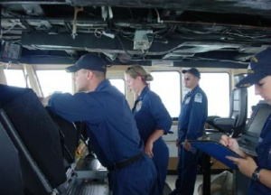 NOAA Officers keep NANCY FOSTER safe and on course.