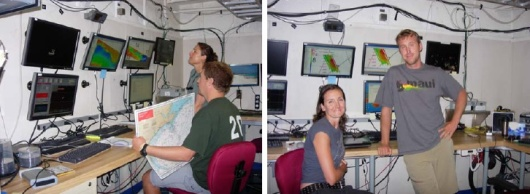 NOAA scientists Paula Whitfield and Brian Degan compare bottom topography for dive site selection (left) and hydrographic survey technicians Missy Partyka and Mike Stecher (left).