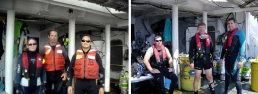 Dive team B: NOAA Divers Jenny Vander Pluym, Thor Dunmire, and Roldan Muñoz (left) and Dive team C: NOAA divers Brad Teer, Roger Mays, and Tom Potts