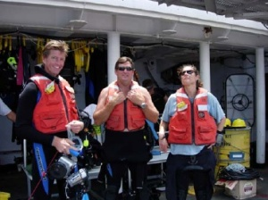 Divers from the NANCY FOSTER ready themselves for the first dive of the mission.
