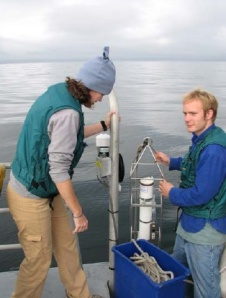 Survey Techs Hertzog & Boles prepare to measure sound velocity with CTD.