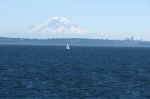 Mt. Rainier and Seattle in the distance.
