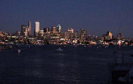 The Seattle skyline at night