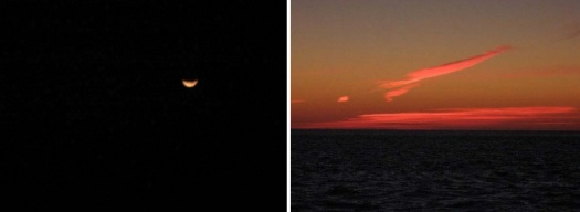 On one side of the ship a lunar eclipse was taking place, while on the other the sun was rising.