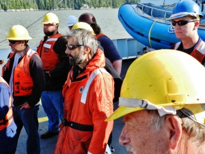 Survey and Deck Department members work together to prepare for the day's launches